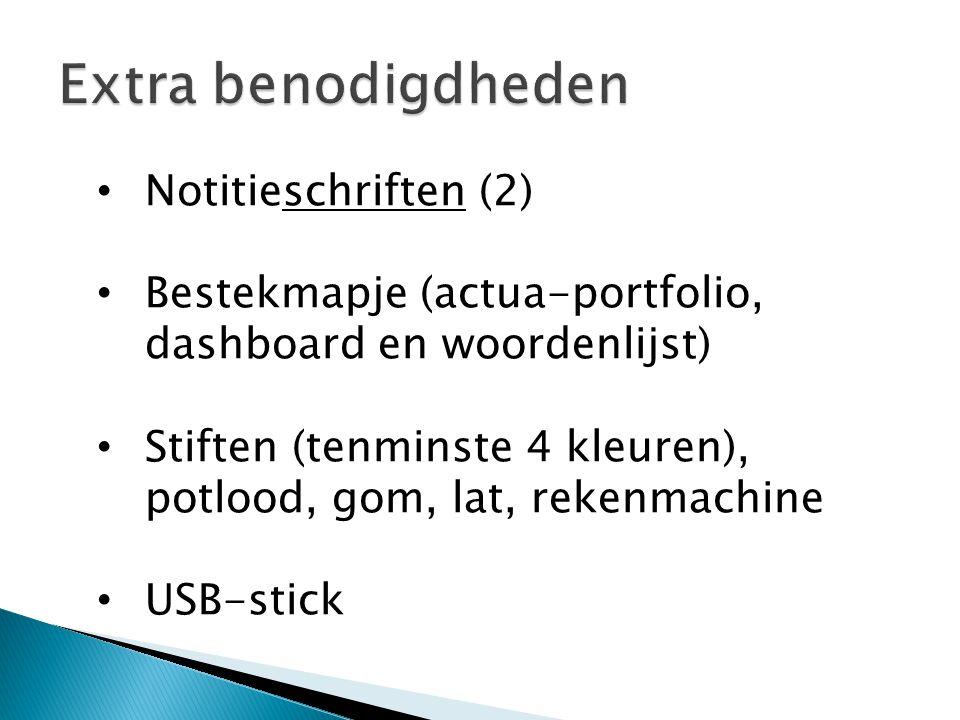 Notitieschriften (2) Bestekmapje (actua-portfolio, dashboard en woordenlijst) Stiften (tenminste 4 kleuren), potlood, gom, lat, rekenmachine USB-stick