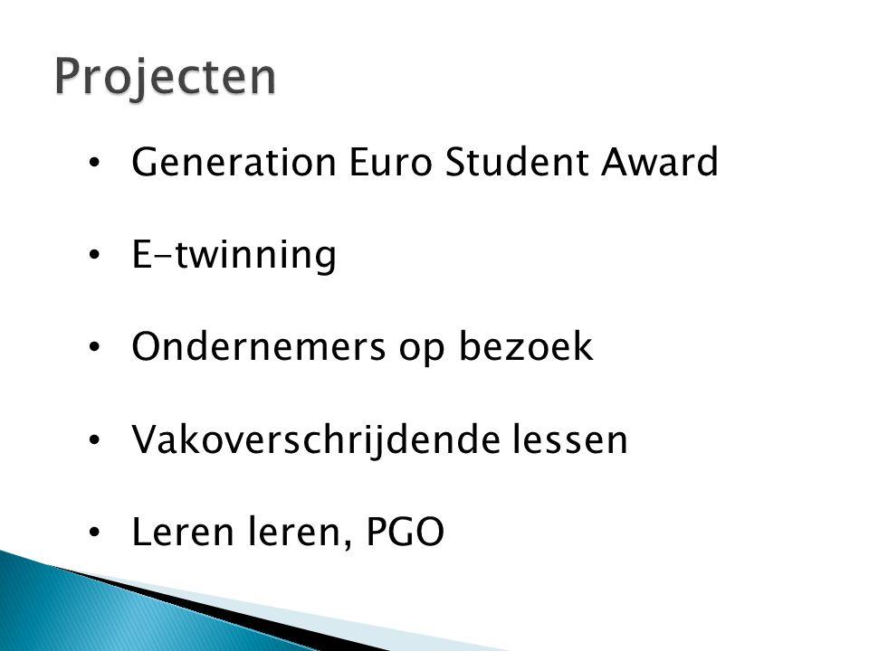 Generation Euro Student Award E-twinning Ondernemers op bezoek Vakoverschrijdende lessen Leren leren, PGO