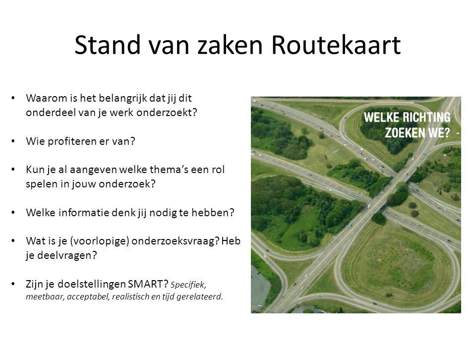 Stand van zaken Routekaart Waarom is het belangrijk dat jij dit onderdeel van je werk onderzoekt.