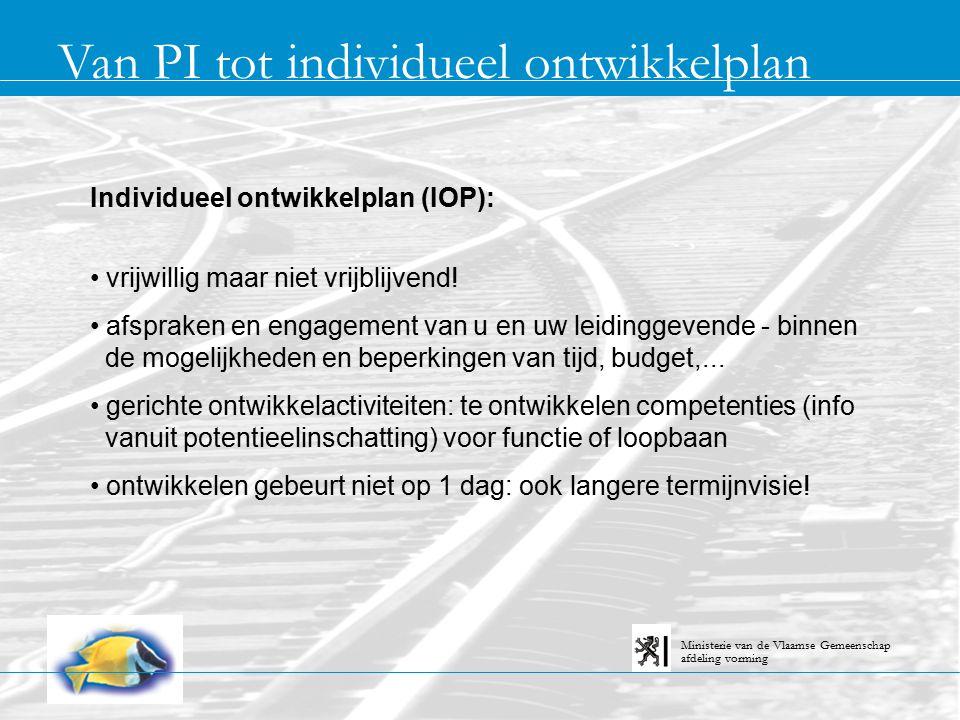 Van PI tot individueel ontwikkelplan afdeling vorming Ministerie van de Vlaamse Gemeenschap Individueel ontwikkelplan (IOP): vrijwillig maar niet vrijblijvend.