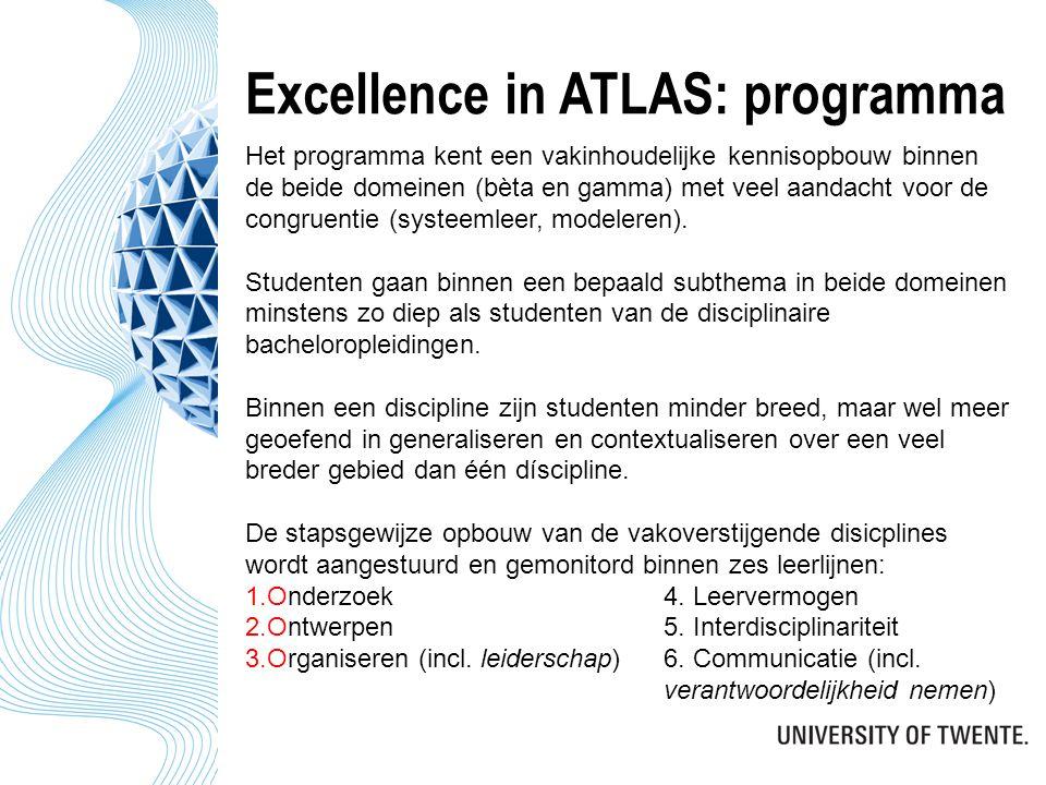 Excellence in ATLAS: programma Het programma kent een vakinhoudelijke kennisopbouw binnen de beide domeinen (bèta en gamma) met veel aandacht voor de congruentie (systeemleer, modeleren).