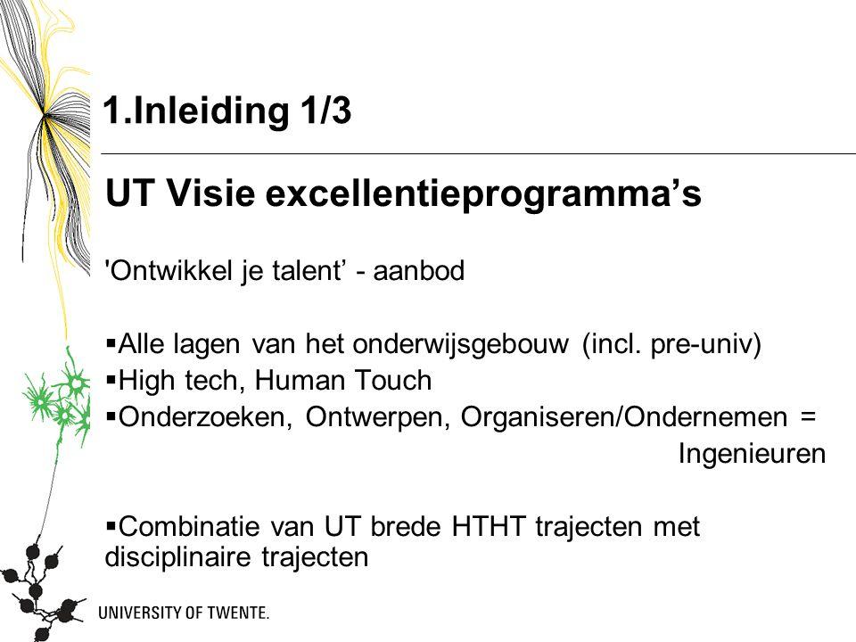 1.Inleiding 1/3 UT Visie excellentieprogramma's Ontwikkel je talent' - aanbod  Alle lagen van het onderwijsgebouw (incl.