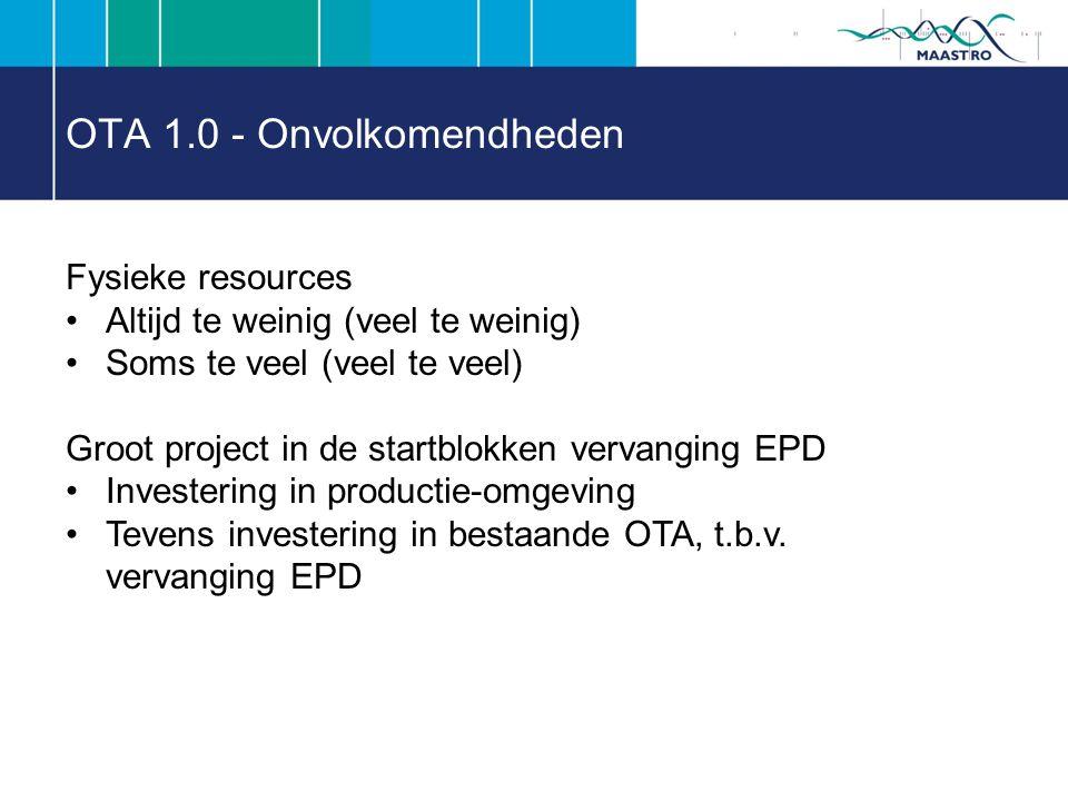 OTA 1.0 - Onvolkomendheden Fysieke resources Altijd te weinig (veel te weinig) Soms te veel (veel te veel) Groot project in de startblokken vervanging EPD Investering in productie-omgeving Tevens investering in bestaande OTA, t.b.v.