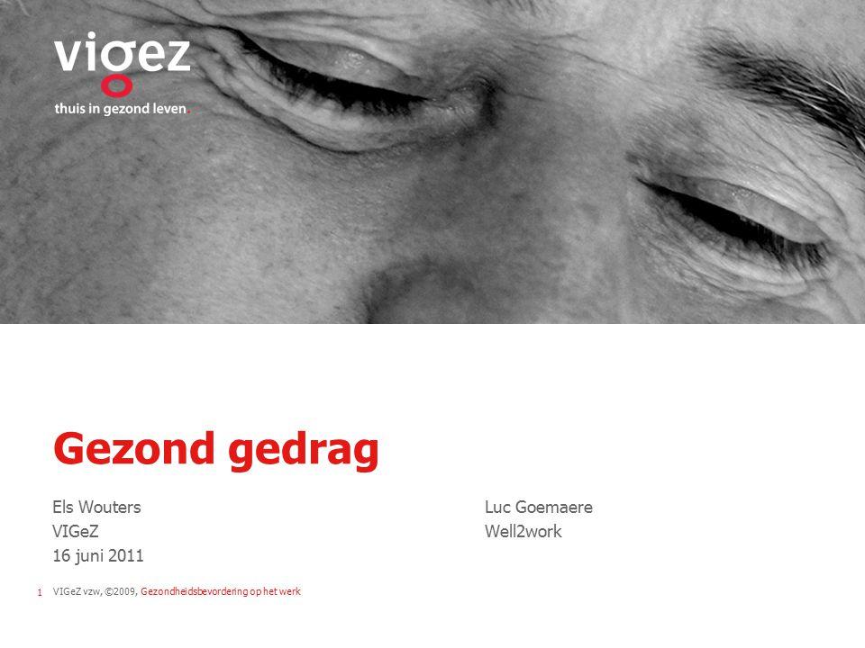 VIGeZ vzw, ©2009, Gezondheidsbevordering op het werk1 Gezond gedrag Els WoutersLuc Goemaere VIGeZWell2work 16 juni 2011