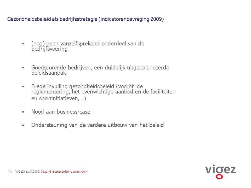 VIGeZ vzw, ©2009, Gezondheidsbevordering op het werk10 Gezondheidsbeleid als bedrijfsstrategie (indicatorenbevraging 2009)  (nog) geen vanzelfspreken