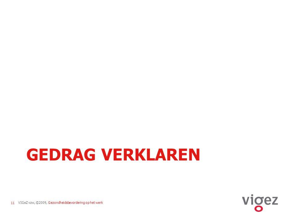 VIGeZ vzw, ©2009, Gezondheidsbevordering op het werk11 GEDRAG VERKLAREN