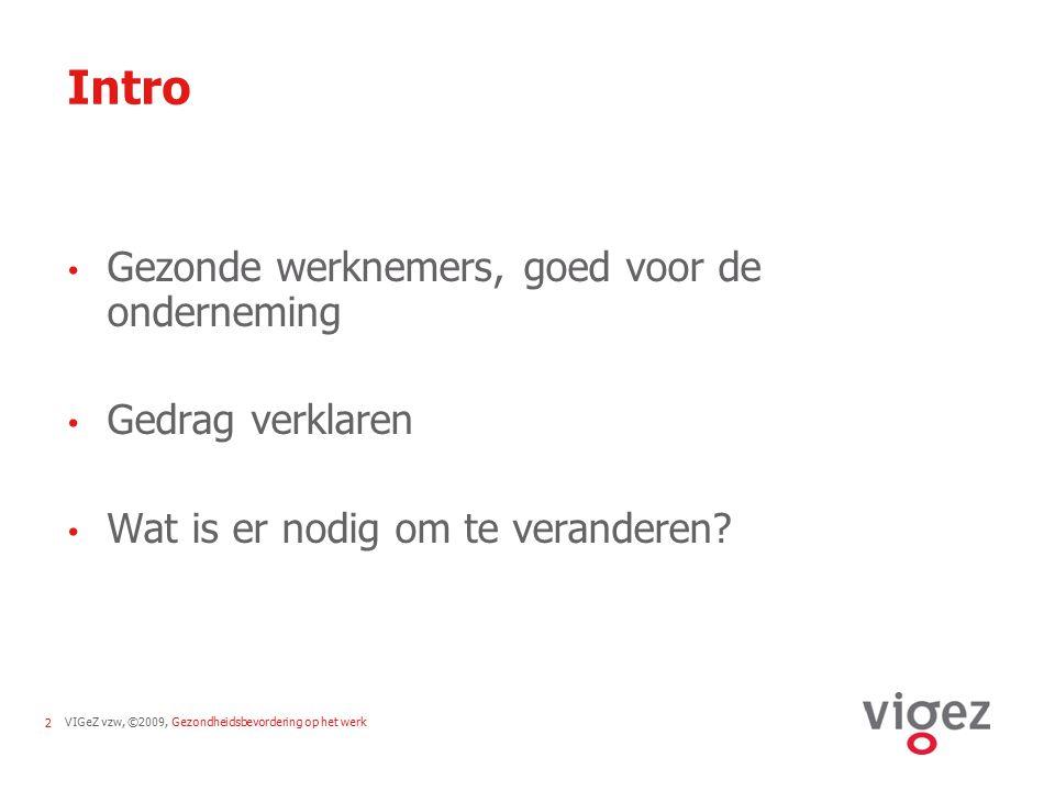 VIGeZ vzw, ©2009, Gezondheidsbevordering op het werk2 Intro Gezonde werknemers, goed voor de onderneming Gedrag verklaren Wat is er nodig om te verand