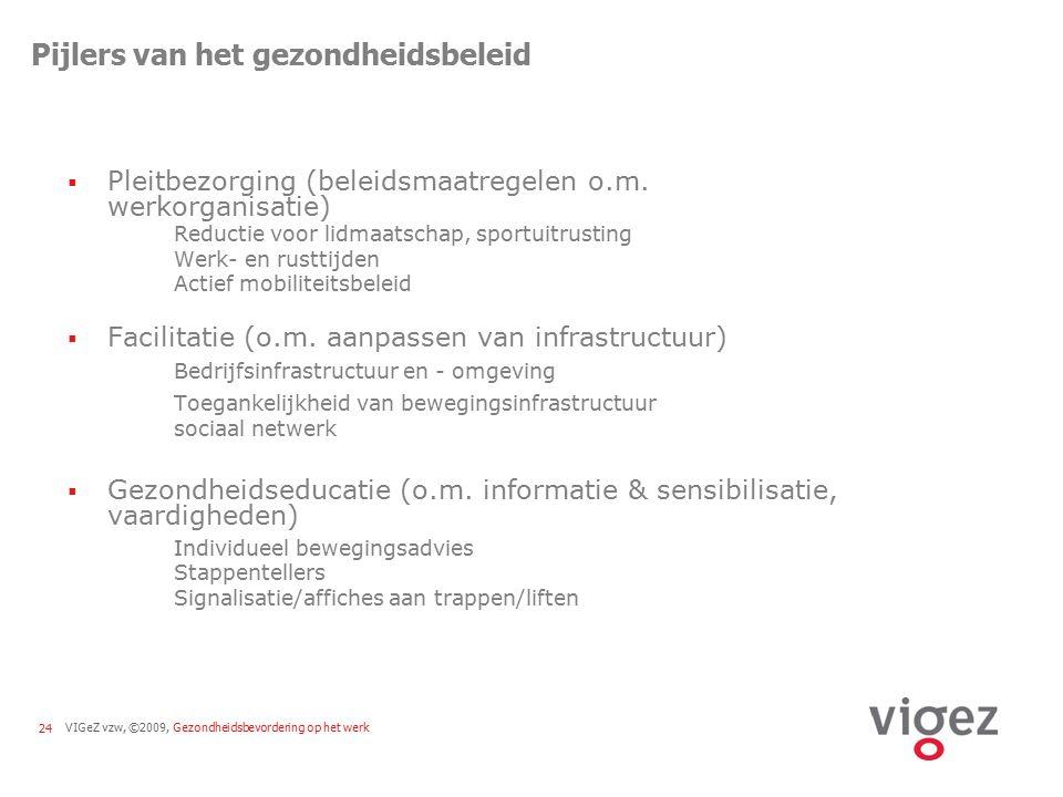 VIGeZ vzw, ©2009, Gezondheidsbevordering op het werk24 Pijlers van het gezondheidsbeleid  Pleitbezorging (beleidsmaatregelen o.m. werkorganisatie) Re