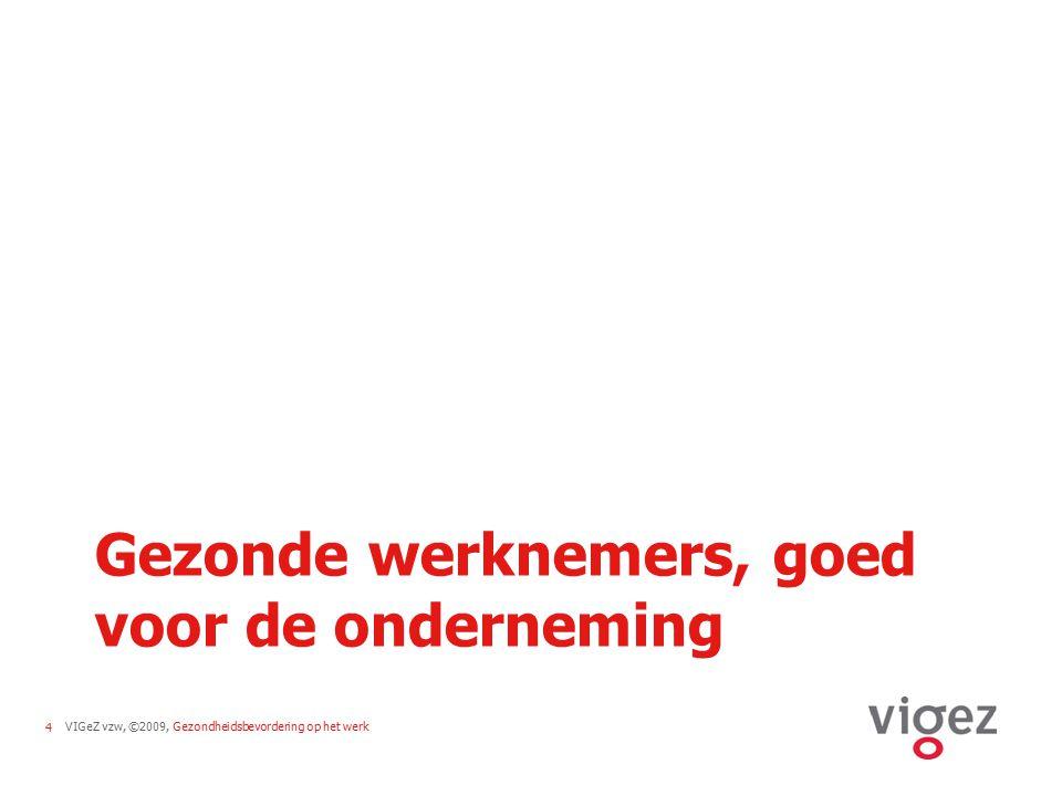 VIGeZ vzw, ©2009, Gezondheidsbevordering op het werk25 Bedrijfsstrategie Draagvlak Multidisciplinaire aanpakAlle personeelsleden Gezondheids- actie
