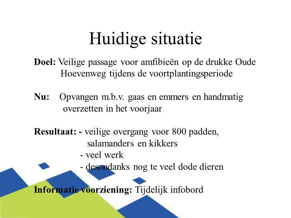 Huidige situatie Doel: Veilige passage voor amfibieën op de drukke Oude Hoevenweg tijdens de voortplantingsperiode Nu: Opvangen m.b.v.