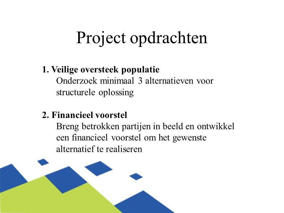 Project opdrachten (randvoorwaarden) 1.Veilige oversteek: Maak maximaal gebruik van reeds bestaande informatie, en creëer draagvlak betrokken organisaties 2.