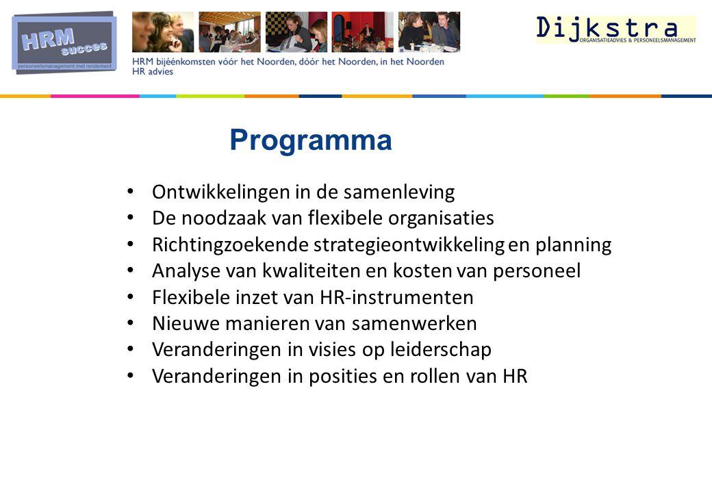 Ontwikkelingen in de samenleving De noodzaak van flexibele organisaties Richtingzoekende strategieontwikkeling en planning Analyse van kwaliteiten en kosten van personeel Flexibele inzet van HR-instrumenten Nieuwe manieren van samenwerken Veranderingen in visies op leiderschap Veranderingen in posities en rollen van HR Programma