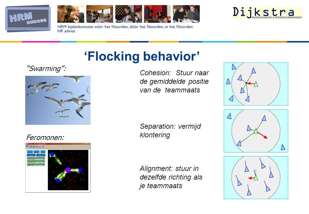 'Flocking behavior' Alignment: stuur in dezelfde richting als je teammaats Cohesion: Stuur naar de gemiddelde positie van de teammaats Separation: vermijd klontering Swarming : Feromonen: