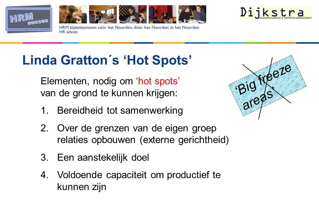 Linda Gratton´s 'Hot Spots' Elementen, nodig om 'hot spots' van de grond te kunnen krijgen: 1.Bereidheid tot samenwerking 2.Over de grenzen van de eigen groep relaties opbouwen (externe gerichtheid) 3.Een aanstekelijk doel 4.Voldoende capaciteit om productief te kunnen zijn 'Big freeze areas'