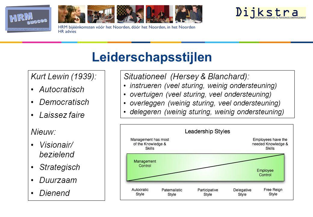 Leiderschapsstijlen Kurt Lewin (1939): Autocratisch Democratisch Laissez faire Nieuw: Visionair/ bezielend Strategisch Duurzaam Dienend Situationeel (Hersey & Blanchard): instrueren (veel sturing, weinig ondersteuning) overtuigen (veel sturing, veel ondersteuning) overleggen (weinig sturing, veel ondersteuning) delegeren (weinig sturing, weinig ondersteuning)