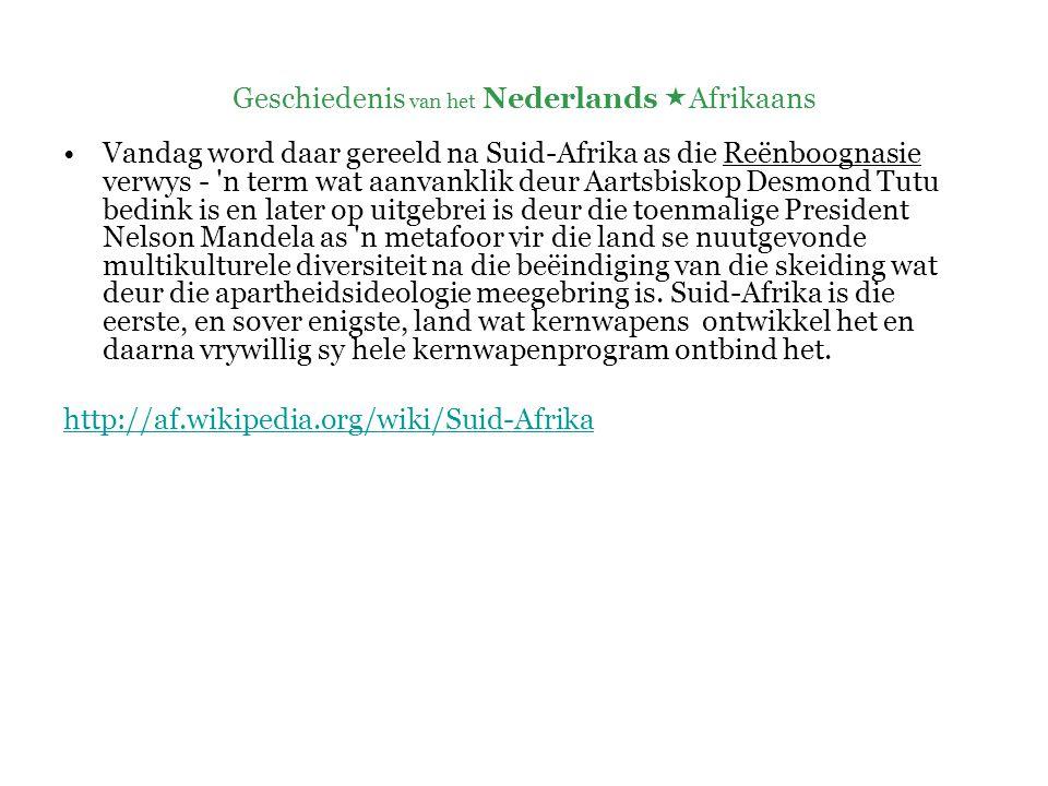Geschiedenis van het Nederlands  Afrikaans  Inheemse bewoners (Hottentotten en Bosjesmannen) en ingevoerde slaven  => pidgin  => creooltaal ( Hottentots- Hollands ) +  Het Kaap-Hollands van blanke kolonisten