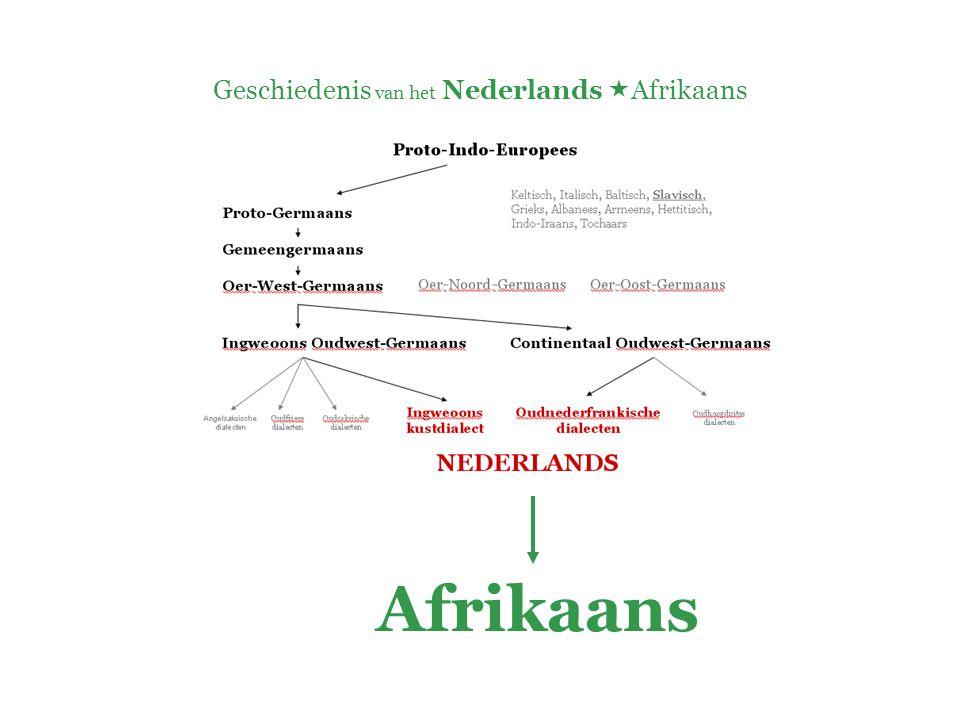 Geschiedenis van het Nederlands  Afrikaans AFRIKAANS:  creooltaal ( Hottentots- Hollands ) +  Het Kaap-Hollands van blanke kolonisten