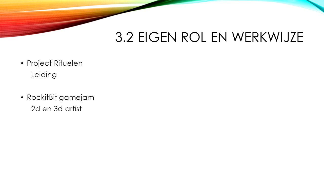 3.2 EIGEN ROL EN WERKWIJZE Project Rituelen Leiding RockitBit gamejam 2d en 3d artist
