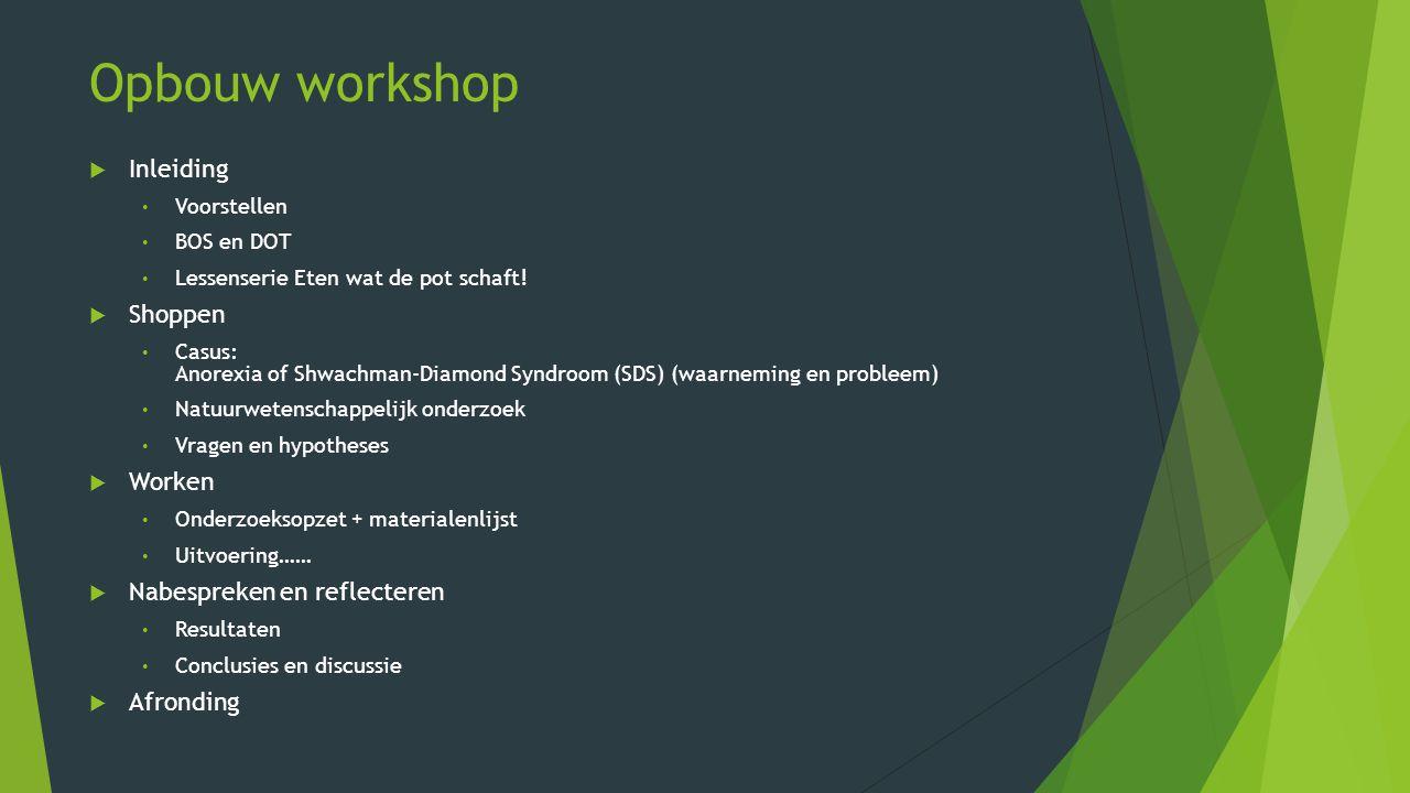 Opbouw workshop  Inleiding Voorstellen BOS en DOT Lessenserie Eten wat de pot schaft!  Shoppen Casus: Anorexia of Shwachman-Diamond Syndroom (SDS) (