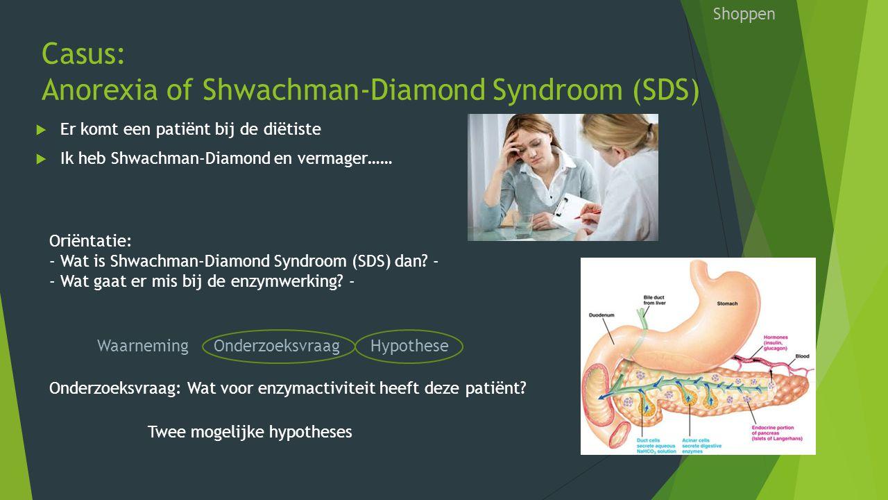 Casus: Anorexia of Shwachman-Diamond Syndroom (SDS) Shoppen  Er komt een patiënt bij de diëtiste  Ik heb Shwachman-Diamond en vermager…… Waarneming