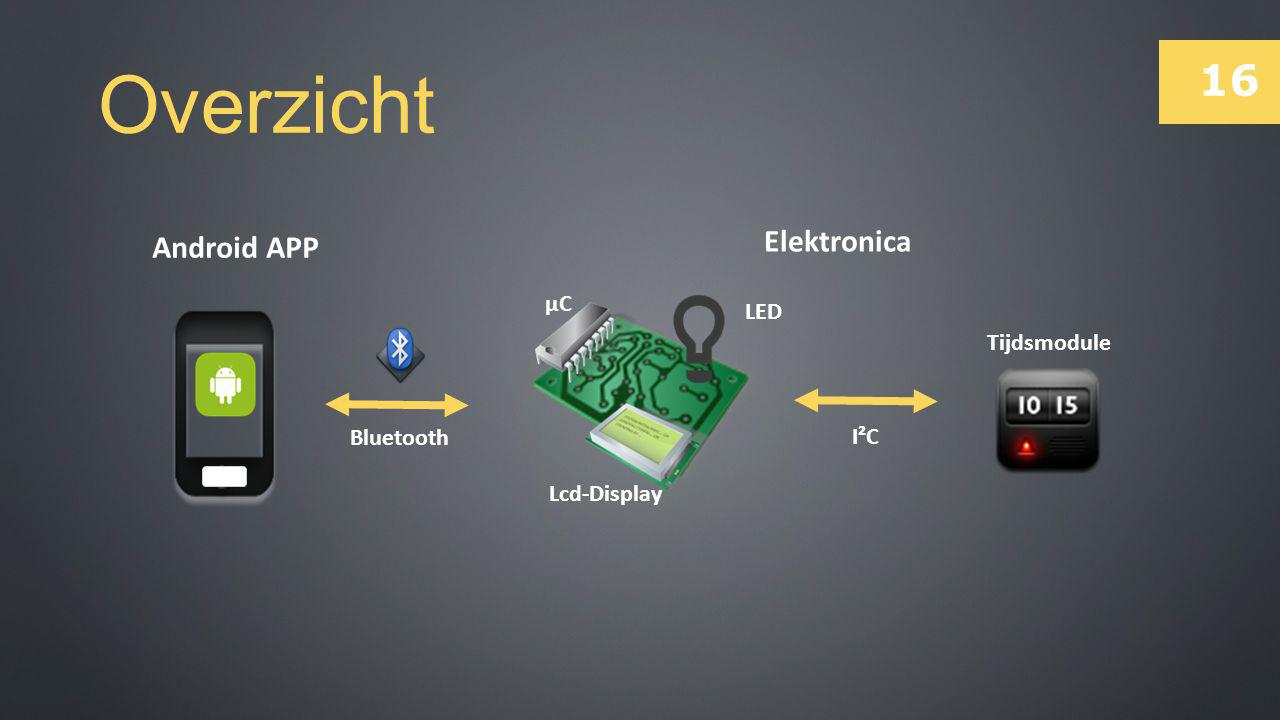 16 Overzicht Bluetooth I²C Tijdsmodule Lcd-Display µC LED Elektronica Android APP
