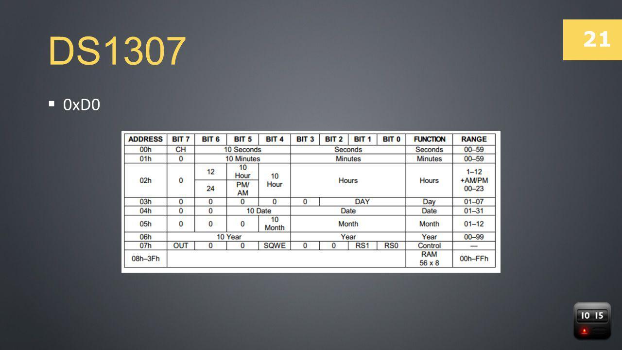 21 DS1307  0xD0
