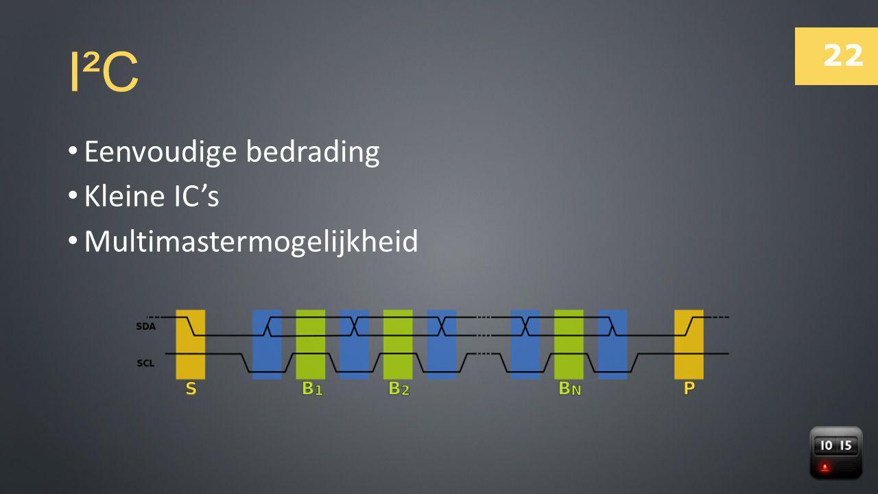 22 I²C Eenvoudige bedrading Kleine IC's Multimastermogelijkheid