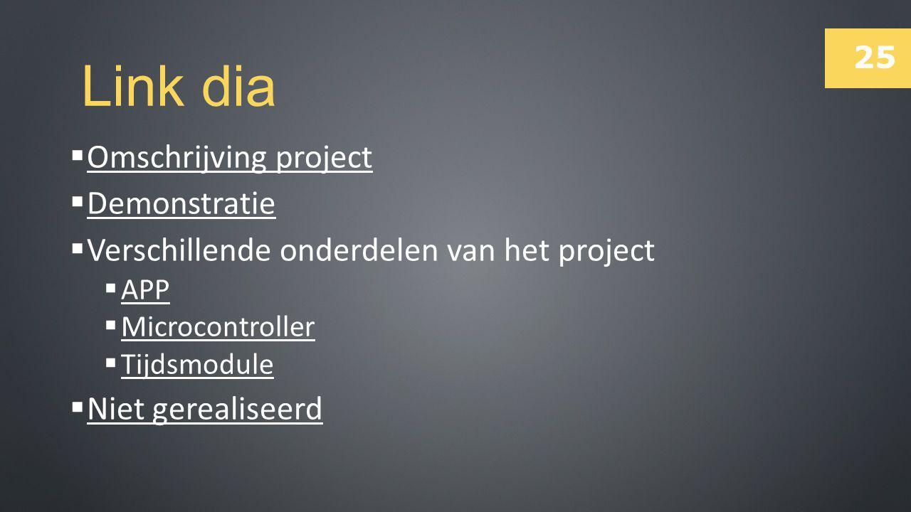 25 Link dia  Omschrijving project Omschrijving project  Demonstratie Demonstratie  Verschillende onderdelen van het project  APP APP  Microcontro