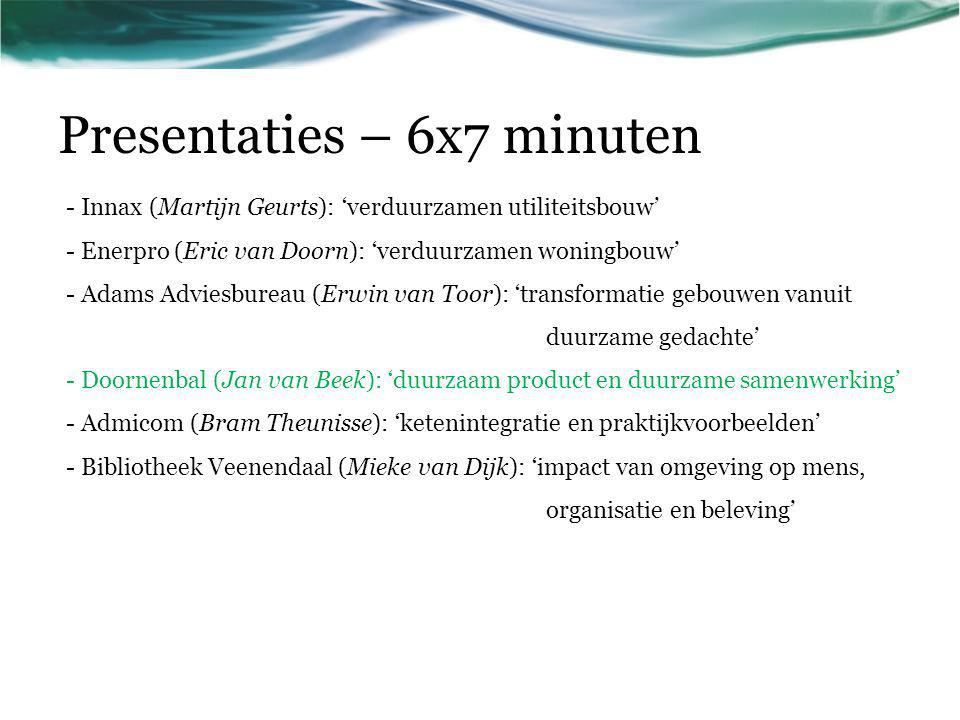 Presentaties – 6x7 minuten - Innax (Martijn Geurts): 'verduurzamen utiliteitsbouw' - Enerpro (Eric van Doorn): 'verduurzamen woningbouw' - Adams Advie