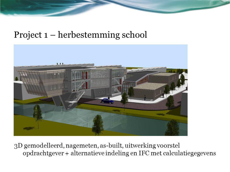 Project 1 – herbestemming school 3D gemodelleerd, nagemeten, as-built, uitwerking voorstel opdrachtgever + alternatieve indeling en IFC met calculatie