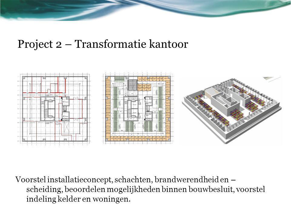 Project 2 – Transformatie kantoor Voorstel installatieconcept, schachten, brandwerendheid en – scheiding, beoordelen mogelijkheden binnen bouwbesluit,