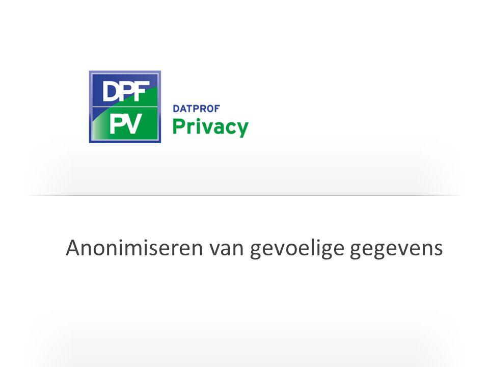 I T C G Keten Methodes om over de keten heen te anonimiseren Stap 1 Anonimiseer database A Stap 2 Anonimiseer database B geheugen
