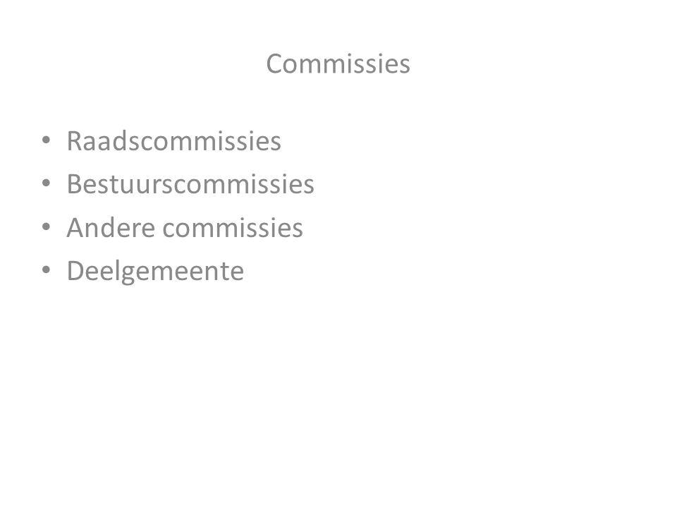 Commissies Raadscommissies Bestuurscommissies Andere commissies Deelgemeente