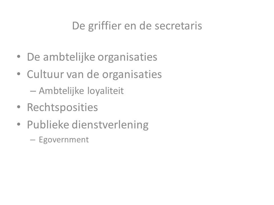 De griffier en de secretaris De ambtelijke organisaties Cultuur van de organisaties – Ambtelijke loyaliteit Rechtsposities Publieke dienstverlening –