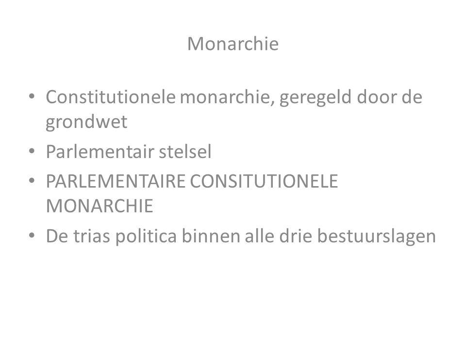 Monarchie Constitutionele monarchie, geregeld door de grondwet Parlementair stelsel PARLEMENTAIRE CONSITUTIONELE MONARCHIE De trias politica binnen al