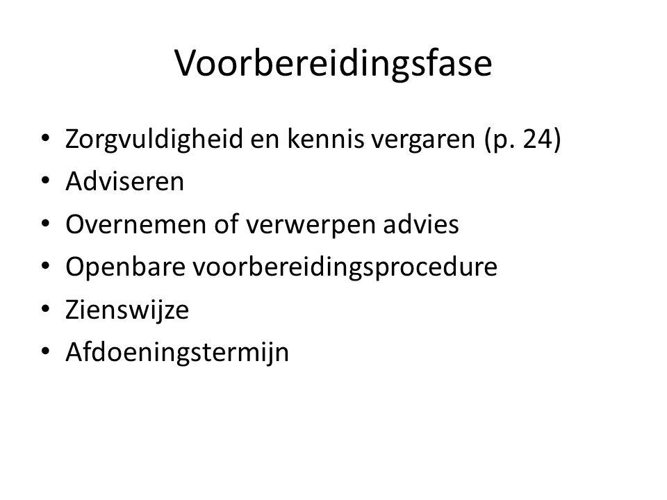 Voorbereidingsfase Zorgvuldigheid en kennis vergaren (p. 24) Adviseren Overnemen of verwerpen advies Openbare voorbereidingsprocedure Zienswijze Afdoe