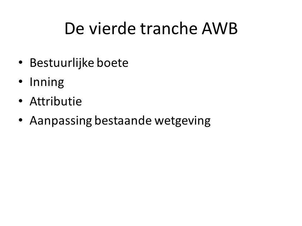 De vierde tranche AWB Bestuurlijke boete Inning Attributie Aanpassing bestaande wetgeving