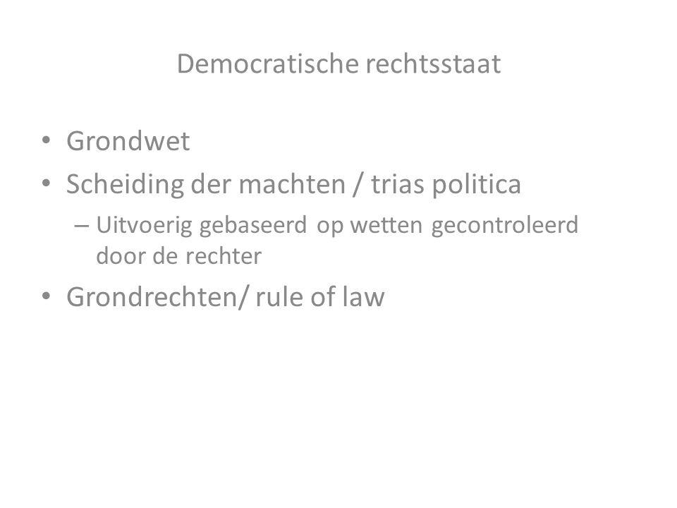 Democratische rechtsstaat Grondwet Scheiding der machten / trias politica – Uitvoerig gebaseerd op wetten gecontroleerd door de rechter Grondrechten/