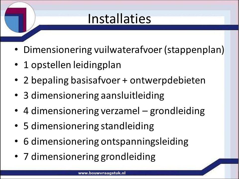 Installaties Dimensionering vuilwaterafvoer (stappenplan) 1 opstellen leidingplan 2 bepaling basisafvoer + ontwerpdebieten 3 dimensionering aansluitle