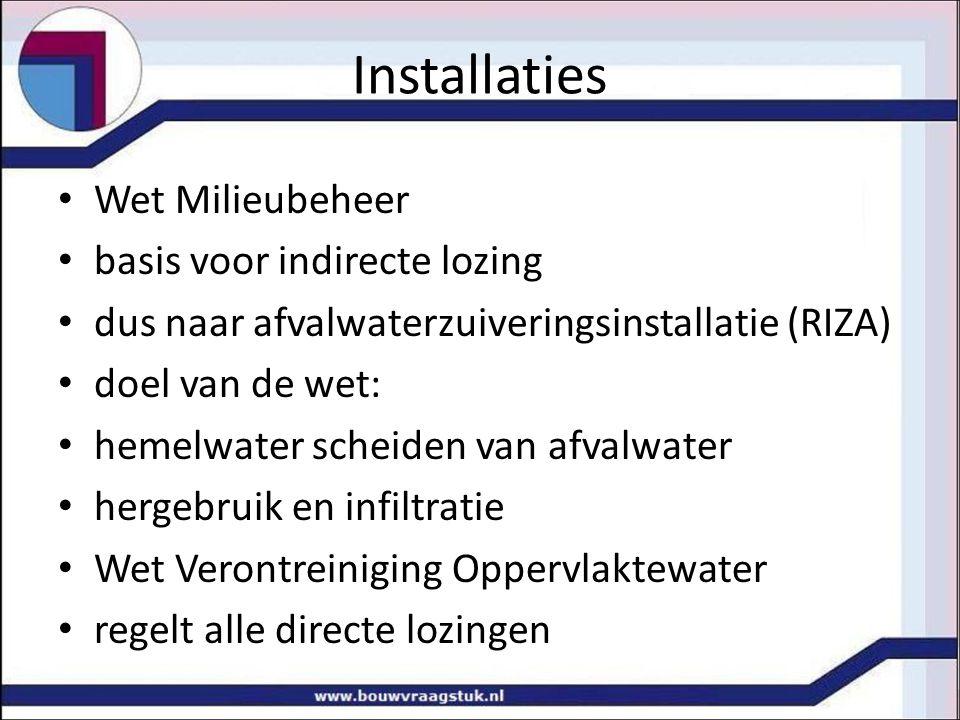 Installaties Wet Milieubeheer basis voor indirecte lozing dus naar afvalwaterzuiveringsinstallatie (RIZA) doel van de wet: hemelwater scheiden van afv