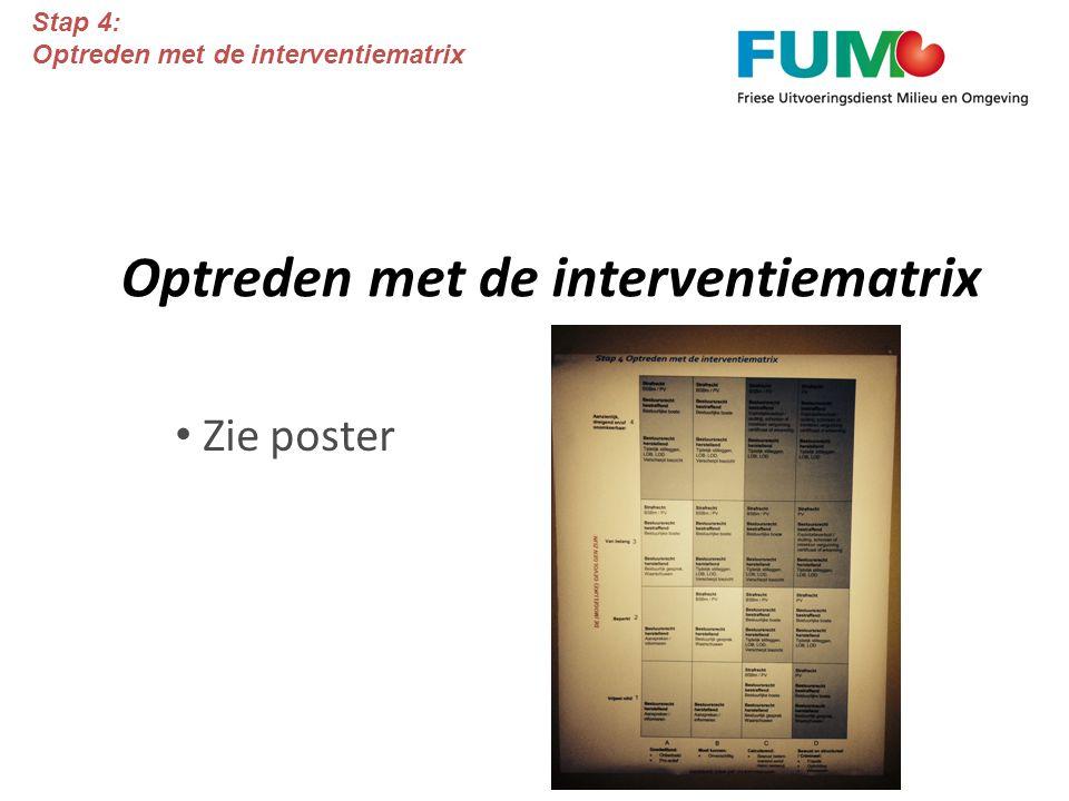 Optreden met de interventiematrix Zie poster Stap 4: Optreden met de interventiematrix