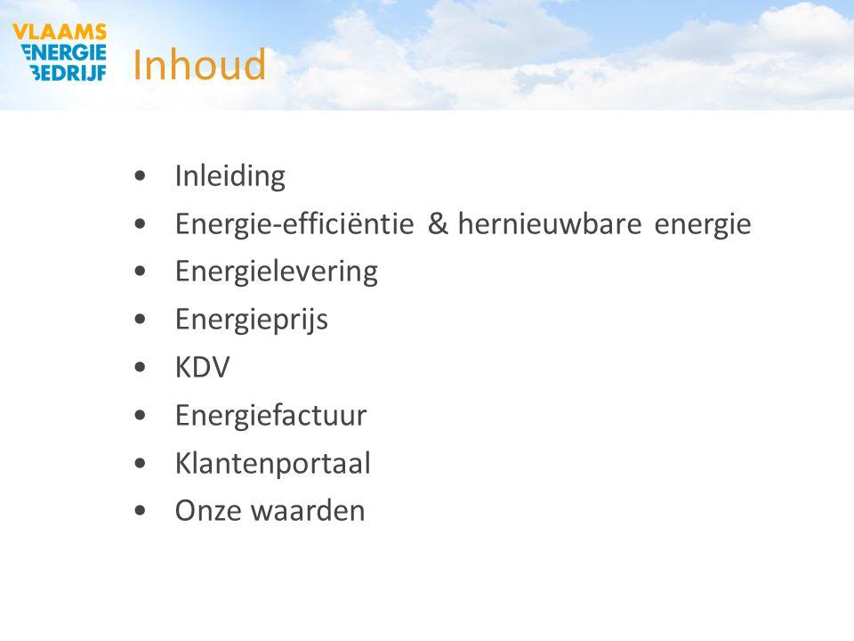 Inhoud Inleiding Energie-efficiëntie & hernieuwbare energie Energielevering Energieprijs KDV Energiefactuur Klantenportaal Onze waarden
