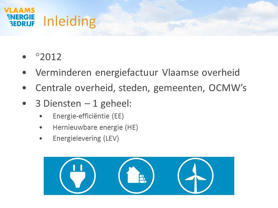 Inleiding  2012 Verminderen energiefactuur Vlaamse overheid Centrale overheid, steden, gemeenten, OCMW's 3 Diensten – 1 geheel: Energie-efficiëntie (