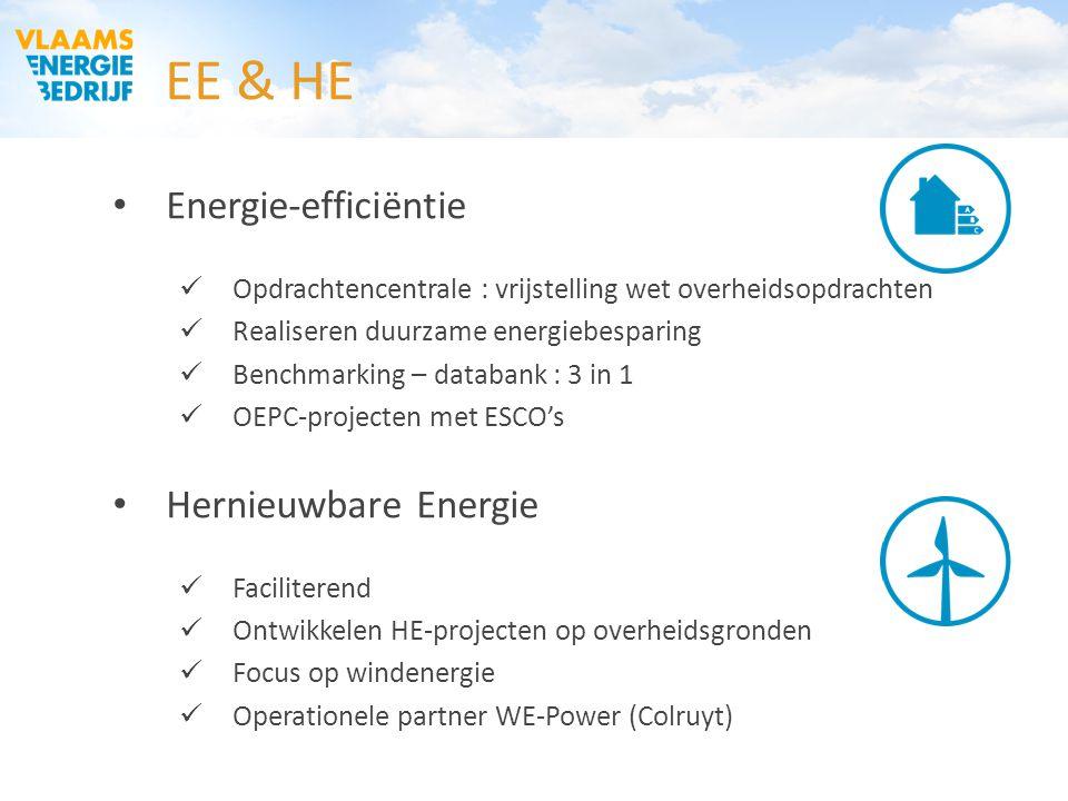 EE & HE Energie-efficiëntie Opdrachtencentrale : vrijstelling wet overheidsopdrachten Realiseren duurzame energiebesparing Benchmarking – databank : 3