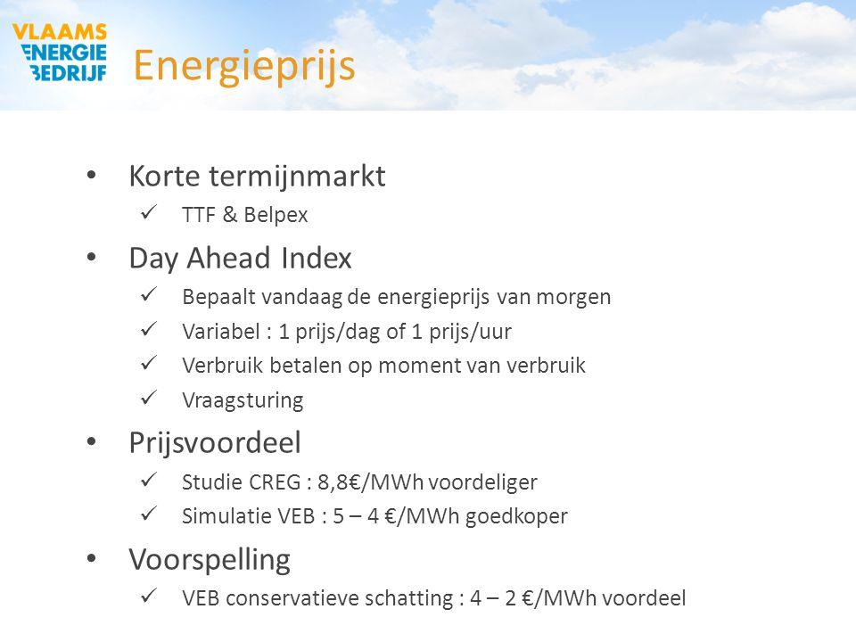 Energieprijs Korte termijnmarkt TTF & Belpex Day Ahead Index Bepaalt vandaag de energieprijs van morgen Variabel : 1 prijs/dag of 1 prijs/uur Verbruik