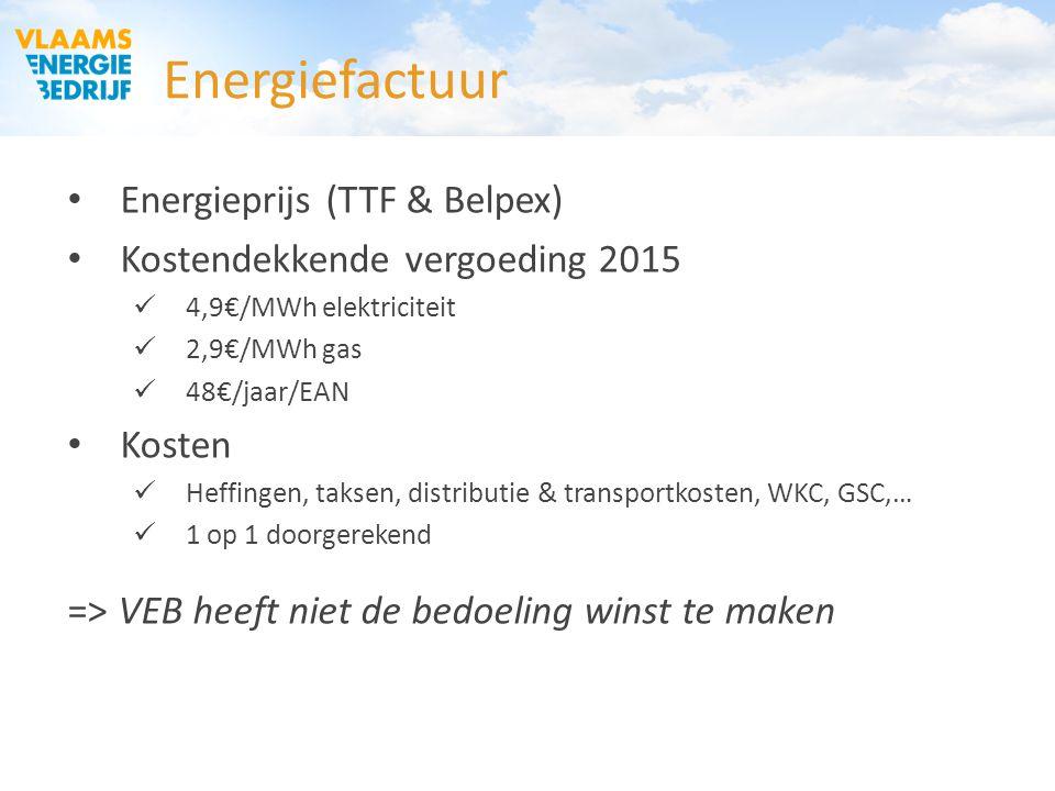 Energiefactuur Energieprijs (TTF & Belpex) Kostendekkende vergoeding 2015 4,9€/MWh elektriciteit 2,9€/MWh gas 48€/jaar/EAN Kosten Heffingen, taksen, d