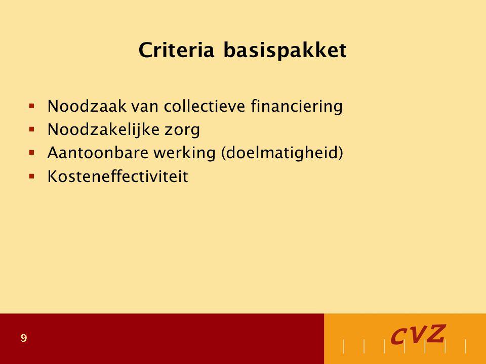 9 Criteria basispakket  Noodzaak van collectieve financiering  Noodzakelijke zorg  Aantoonbare werking (doelmatigheid)  Kosteneffectiviteit