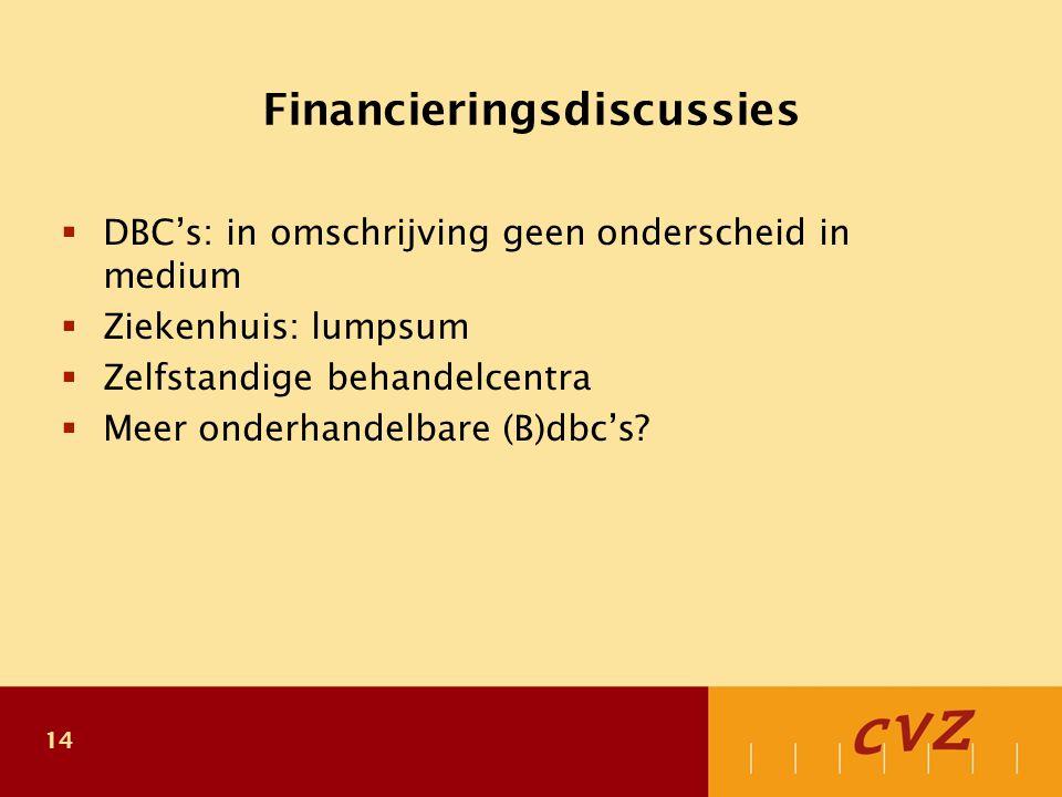 14 Financieringsdiscussies  DBC's: in omschrijving geen onderscheid in medium  Ziekenhuis: lumpsum  Zelfstandige behandelcentra  Meer onderhandelbare (B)dbc's?