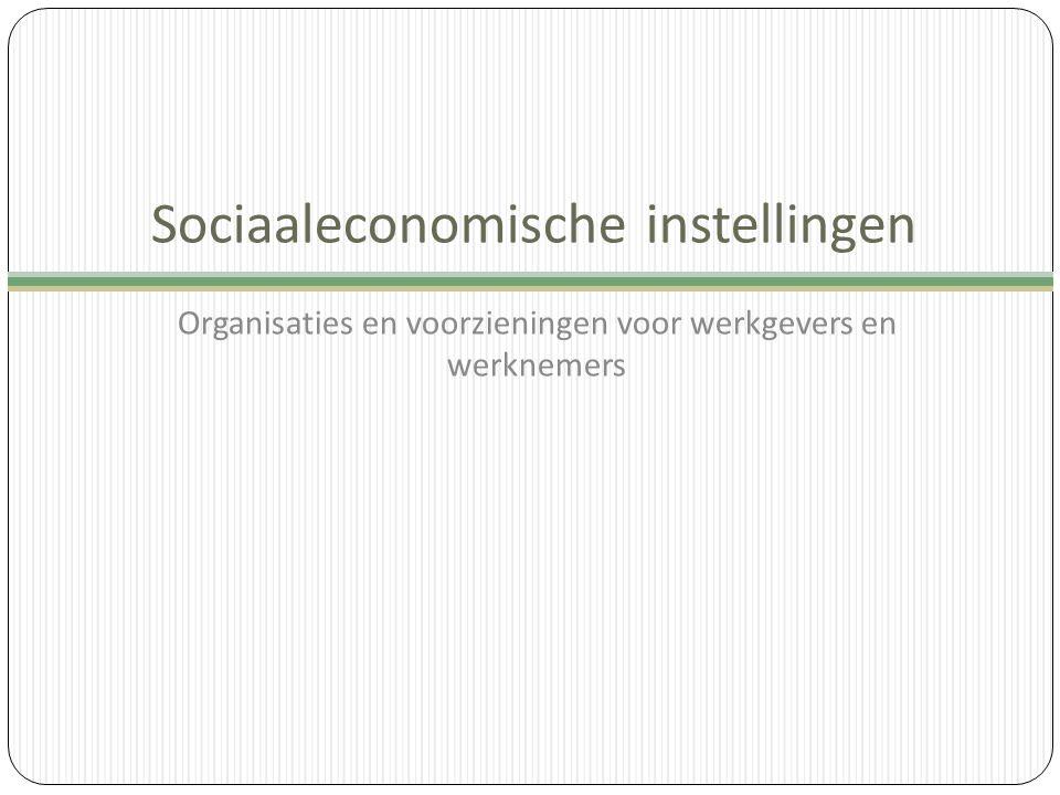 Sociaaleconomische instellingen Organisaties en voorzieningen voor werkgevers en werknemers