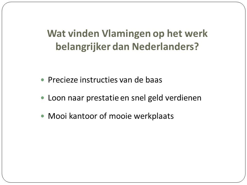 Wat vinden Vlamingen op het werk belangrijker dan Nederlanders? Precieze instructies van de baas Loon naar prestatie en snel geld verdienen Mooi kanto